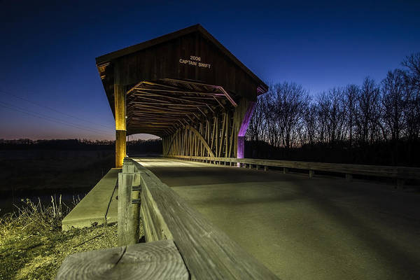 Photograph - Covered Bridge At Dusk With Light Painting by Sven Brogren