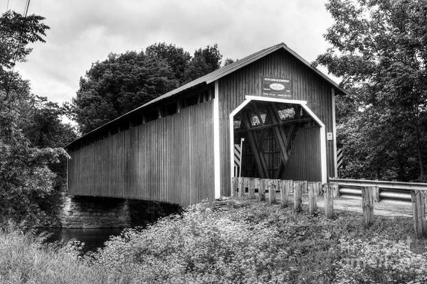 Photograph - Covered Bridge In Canada Bw by Mel Steinhauer