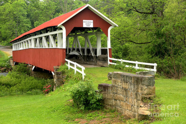 Laurel Hill Creek Photograph - Covered Bridge In Middlecreek Township by Adam Jewell