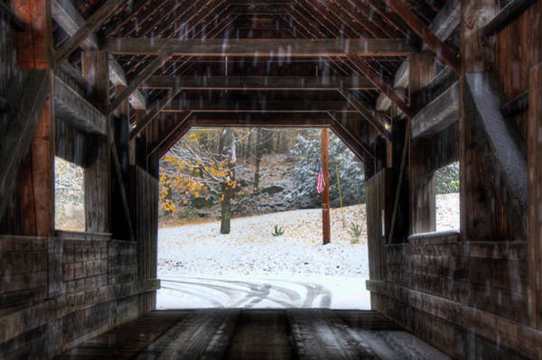 Photograph - Covered Bridge In Snow - Warren Vt by Joann Vitali
