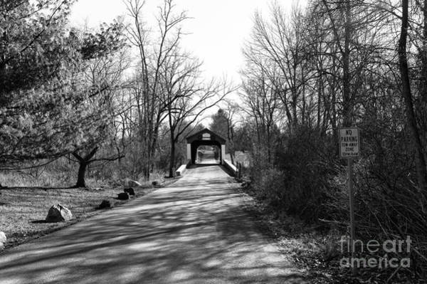 Photograph - Covered Bridge In The Distance Mono by John Rizzuto