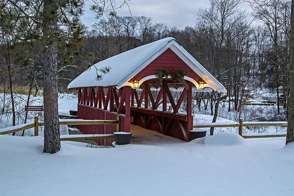 Photograph - Covered Bridge In The Winter by Frank Morales Jr