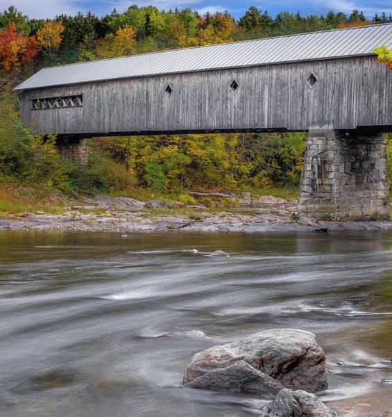 Photograph - Covered Bridge In Vermont With Fall Foliage by Robert Bellomy