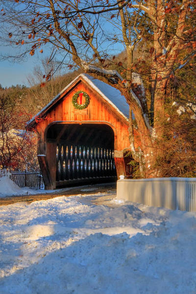 Photograph - Covered Bridge In Winter by Joann Vitali