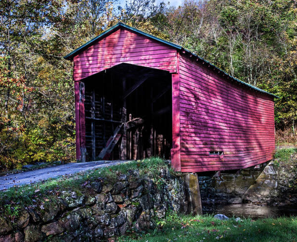 Photograph - Covered Bridge Near Mountain Lake by James Woody