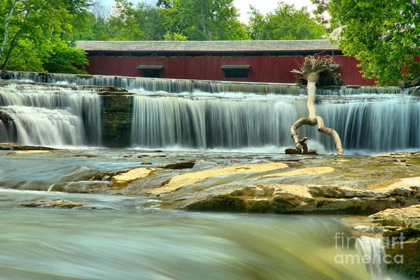 Photograph - Covered Bridge Over Cataract Falls by Adam Jewell