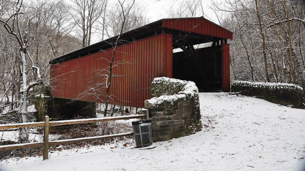 Red Covered Bridge Photograph - Covered Bridge Over The Wissahickon Creek by Bill Cannon