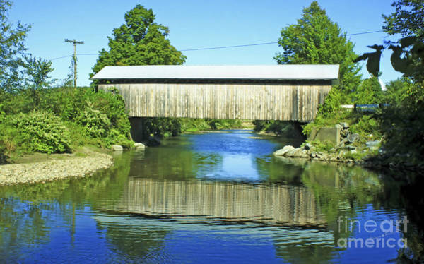 Photograph - Covered Bridge Reflection by Deborah Benoit