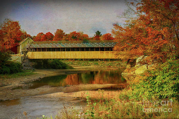 Brook Mixed Media - Covered Bridge Vermont Autumn by Deborah Benoit