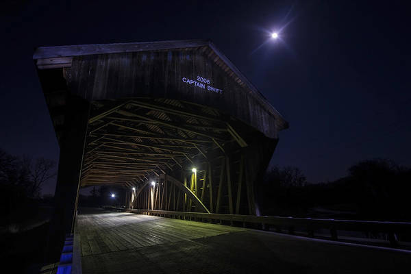 Photograph - Covered Bridge With Full Moon by Sven Brogren