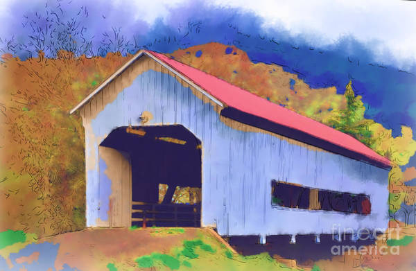 Digital Art - Covered Bridge With Red Roof by Kirt Tisdale