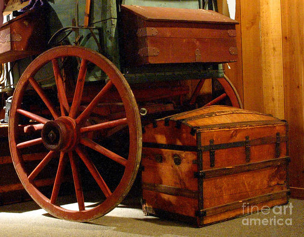 Wood Siding Wall Art - Photograph - Covered Wagon And Trunks by Linda Phelps