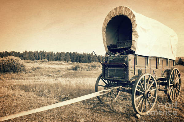Wild West Photograph - Covered Wagon by Delphimages Photo Creations