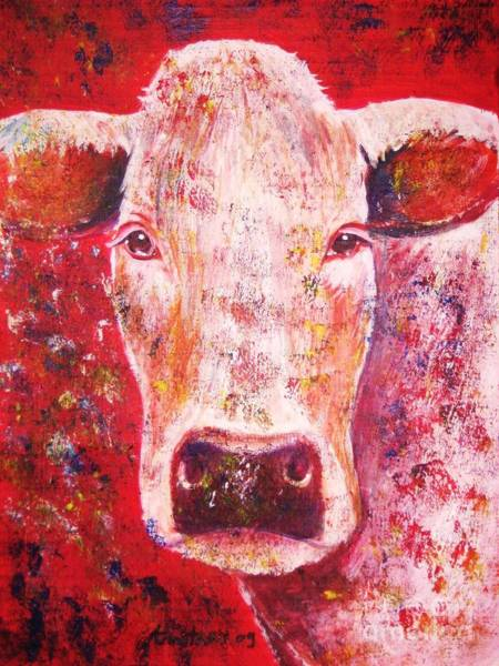 Cyprus Wall Art - Painting - Cow by Anastasis  Anastasi