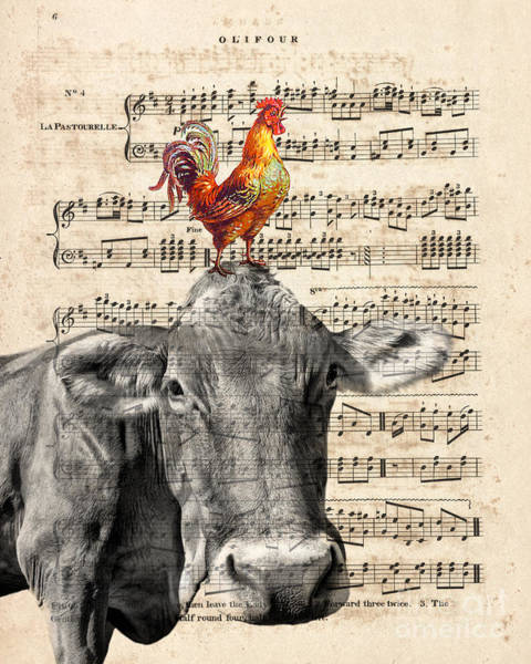 Wall Art - Mixed Media - Cow And Rooster by Delphimages Photo Creations
