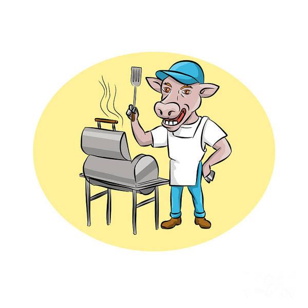 Bbq Digital Art - Cow Barbecue Chef Smoker Oval Cartoon by Aloysius Patrimonio