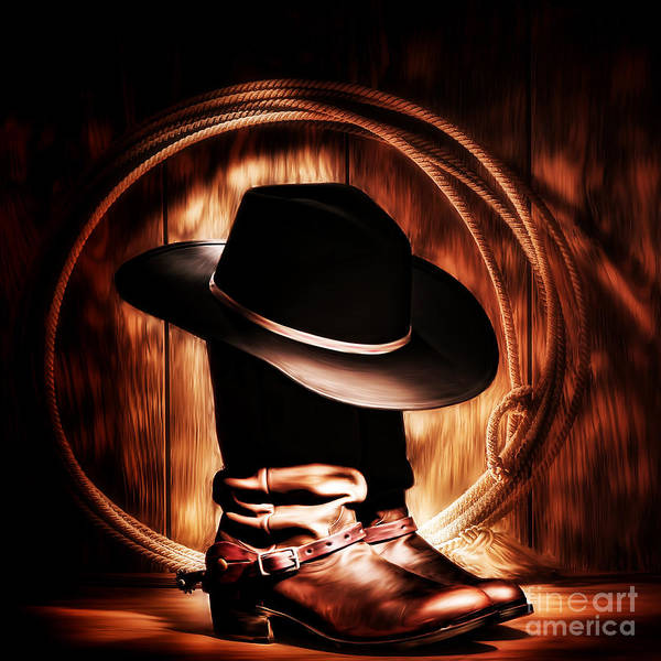 Roping Painting - Cow Boy Boot And Hat by Gull G