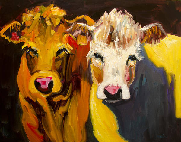 Wall Art - Painting - Cow Buddies At Large by Diane Whitehead