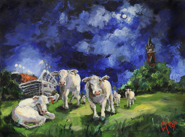 Wall Art - Painting - Cow College Auburn University by Carole Foret