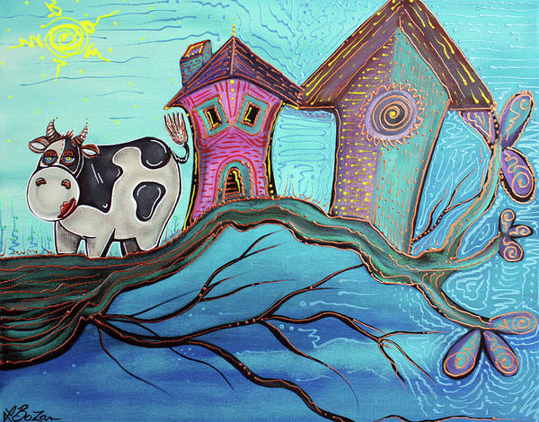 Wall Art - Painting - Cow In A Tree by Laura Barbosa