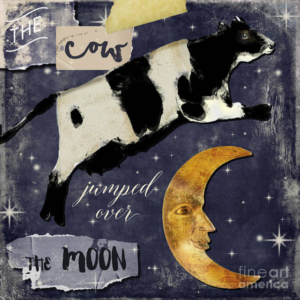 Cows Wall Art - Painting - Cow Jumped Over The Moon by Mindy Sommers
