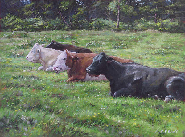 Painting - Cow Line Up In Field by Martin Davey