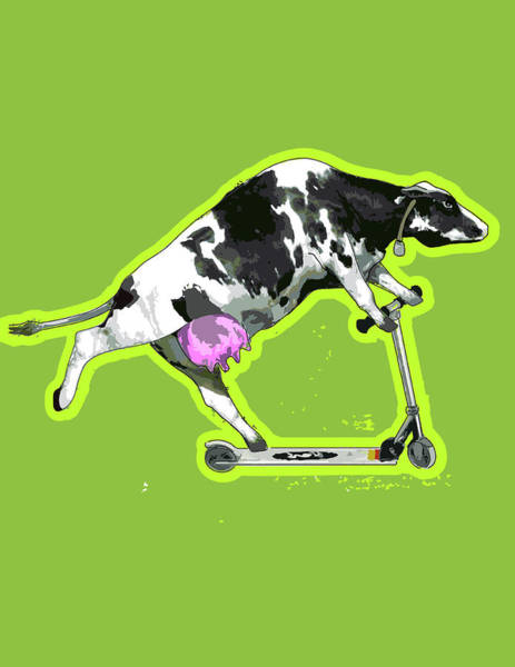 Vertical Digital Art - Cow On Push Scooter by New Vision Technologies Inc