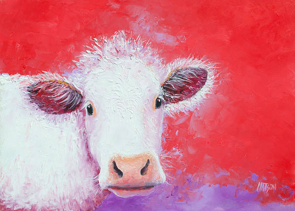 Cow And Calf Wall Art - Painting - Cow Painting - Charolais by Jan Matson
