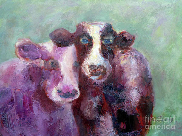 Painting - Cow Pals by Carolyn Jarvis