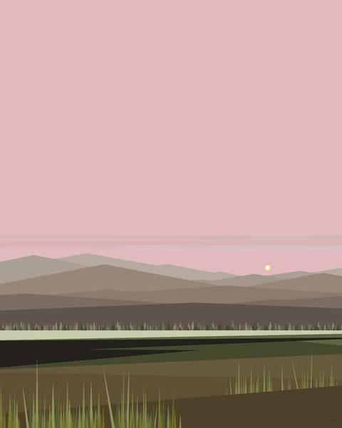 Digital Art - Cow Pass Sunrise - Light Pink by Val Arie