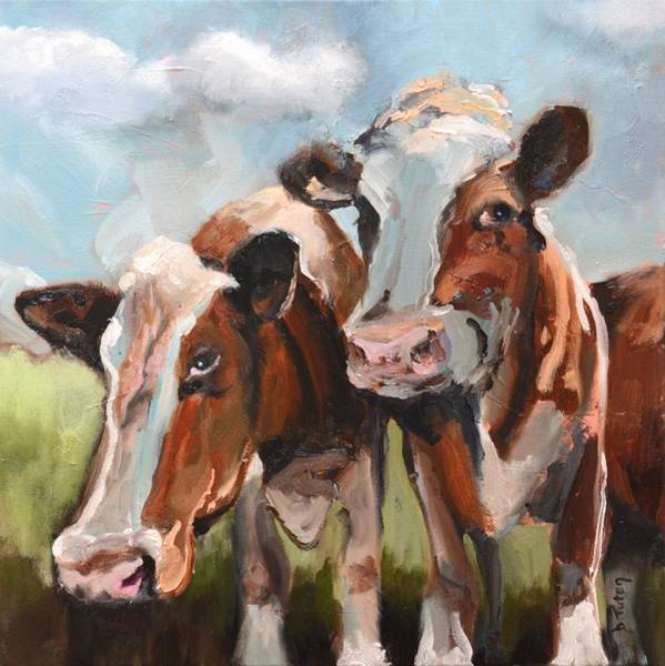 Painting - Cow Pasture Cuties by Donna Tuten