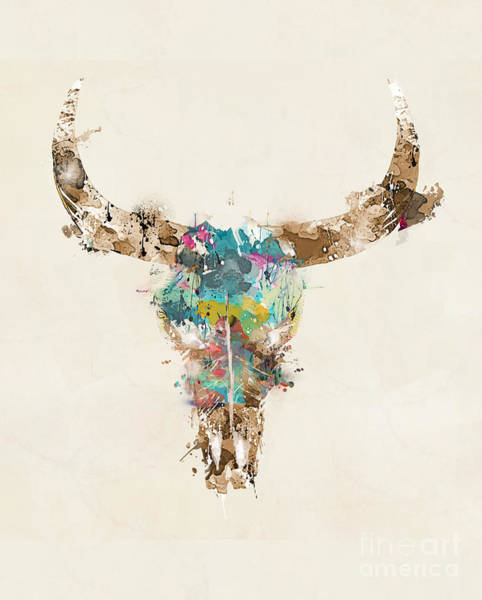 Dorms Wall Art - Painting - Cow Skull by Bri Buckley