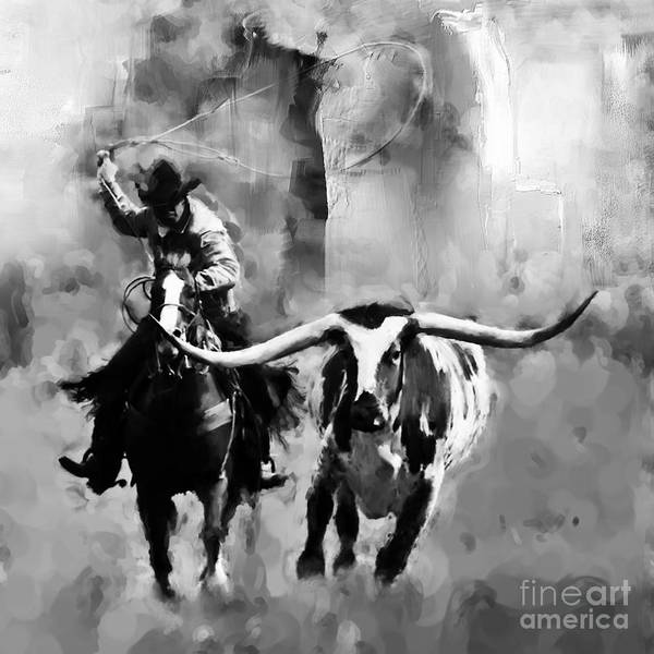 Roping Painting - Cowboy 000919 by Gull G