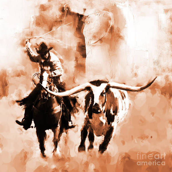 Roping Painting - Cowboy-09889a by Gull G