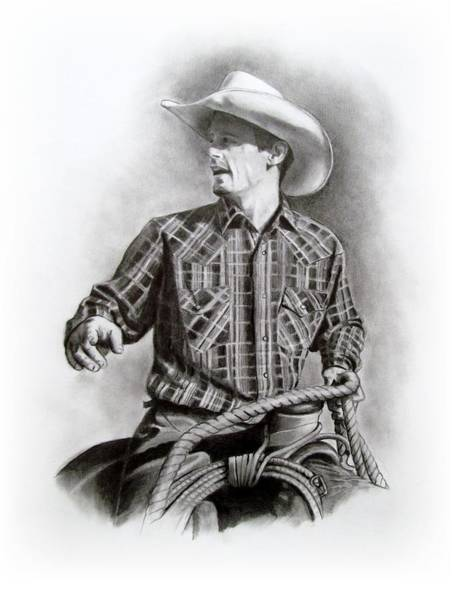 Wall Art - Drawing - Cowboy At Work by Joyce Geleynse