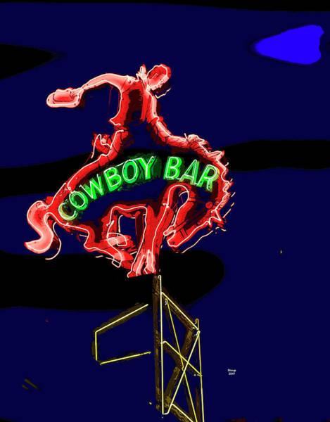 Drunk Mixed Media - Cowboy Bar Jackson Hole by Charles Shoup