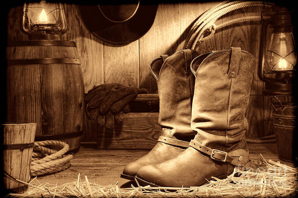 Photograph - Cowboy Boots In A Ranch Barn by American West Legend By Olivier Le Queinec