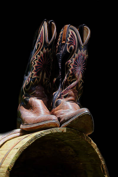 Mixed Media - Cowboy Boots On A Barrel by Pamela Walton