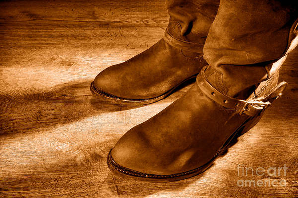 Wall Art - Photograph - Cowboy Boots On Saloon Floor - Sepia by Olivier Le Queinec