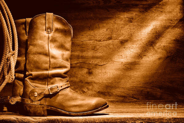 Wall Art - Photograph - Cowboy Boots On Wood Floor - Sepia by Olivier Le Queinec