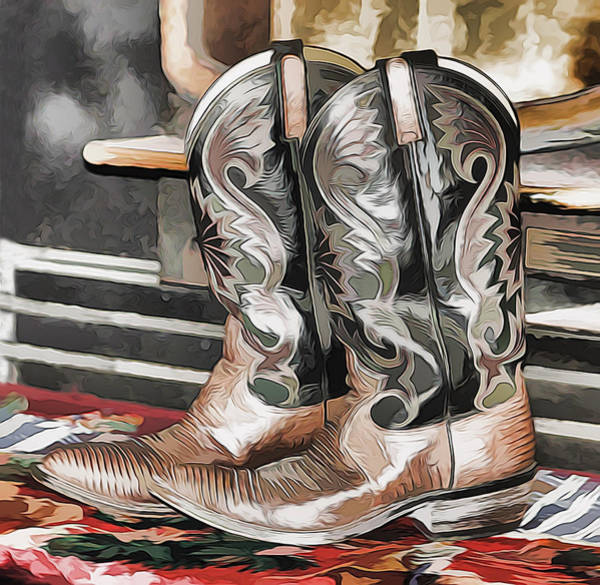 Mixed Media - Cowboy Boots by Pamela Walton