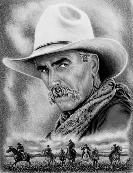 Grey Skies Drawing - Cowboy Bw by Andrew Read