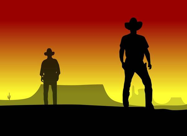 Dueling Wall Art - Digital Art - Cowboy Duel by Nestor PS