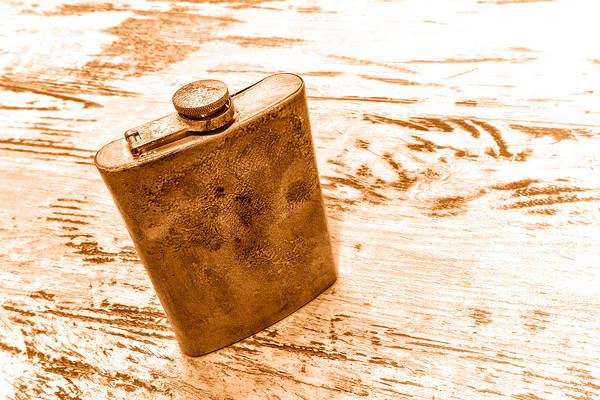 Flask Wall Art - Photograph - Cowboy Energy Drink - Sepia by Olivier Le Queinec
