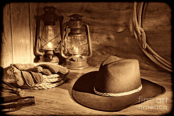 Photograph - Cowboy Hat And Kerosene Lanterns by American West Legend By Olivier Le Queinec