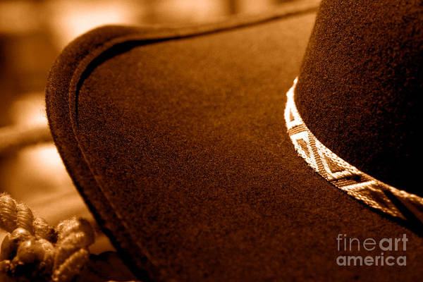 Wall Art - Photograph - Cowboy Hat Detail - Sepia by Olivier Le Queinec