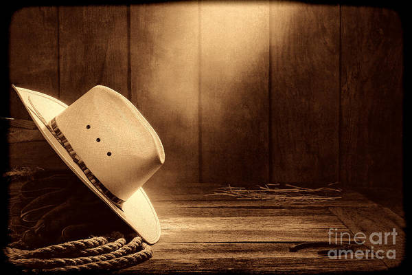 Photograph - Cowboy Hat In The Old Barn by American West Legend By Olivier Le Queinec