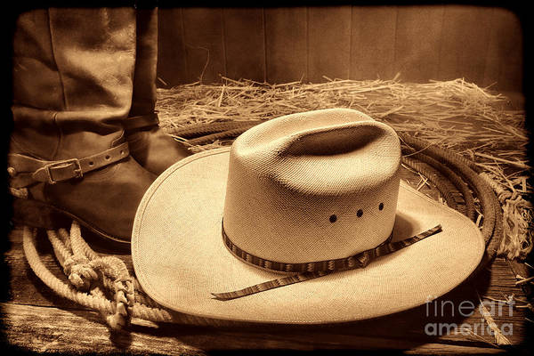 Photograph - Cowboy Hat On Barn Floor by American West Legend By Olivier Le Queinec
