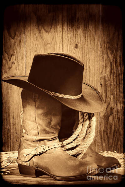 Photograph - Cowboy Hat On Boots by American West Legend By Olivier Le Queinec