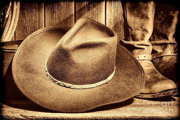 Photograph - Cowboy Hat On Floor by American West Legend By Olivier Le Queinec